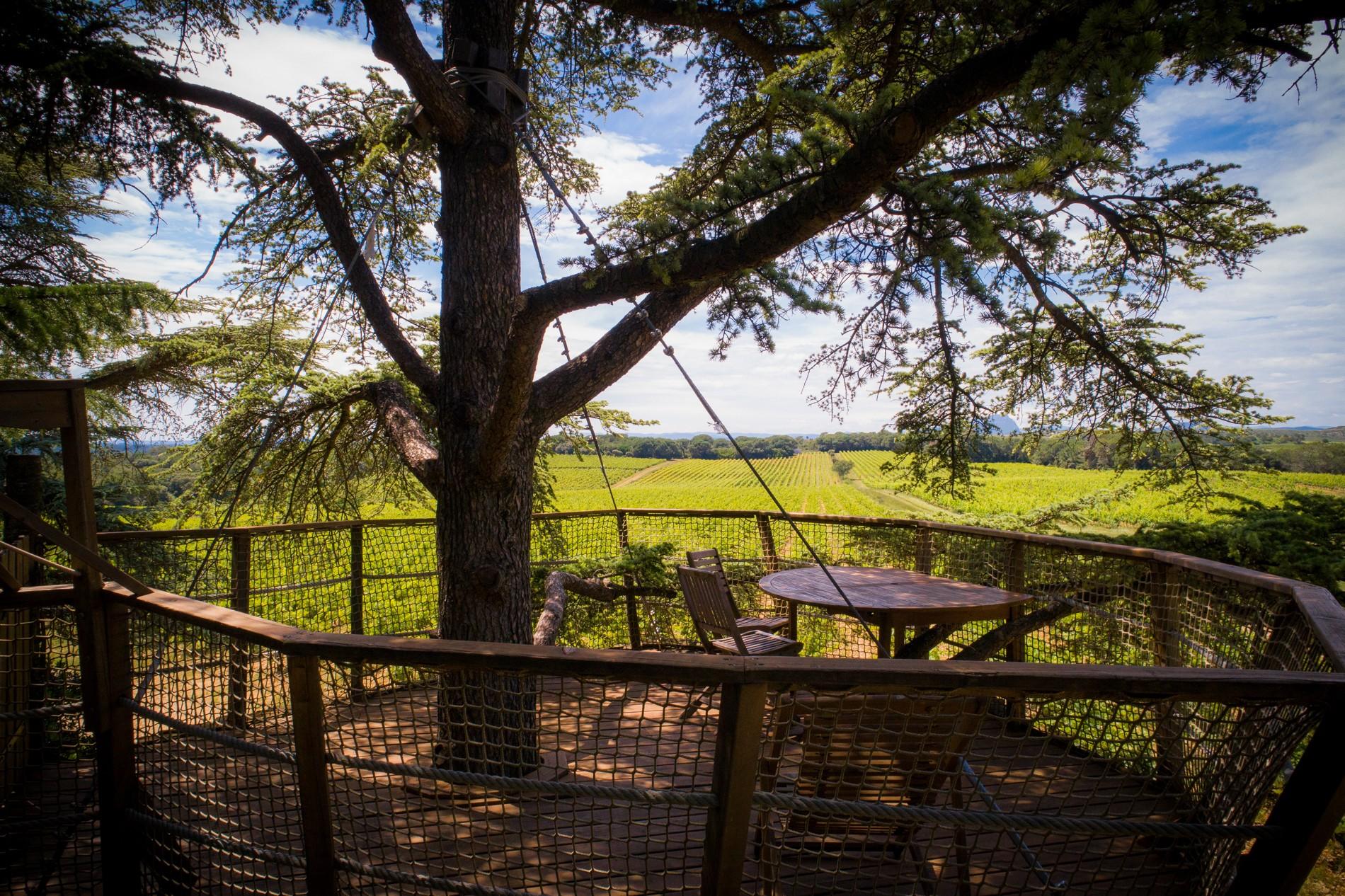 Photo 16 extérieur - Cabanes dans les arbres - terrasse avec vue sur le Pic Saint Loup - hébergement insolite à Montpellier - Tourisme de nature - Domaine saint Jean de l'Arbousier, Castries, Hérault