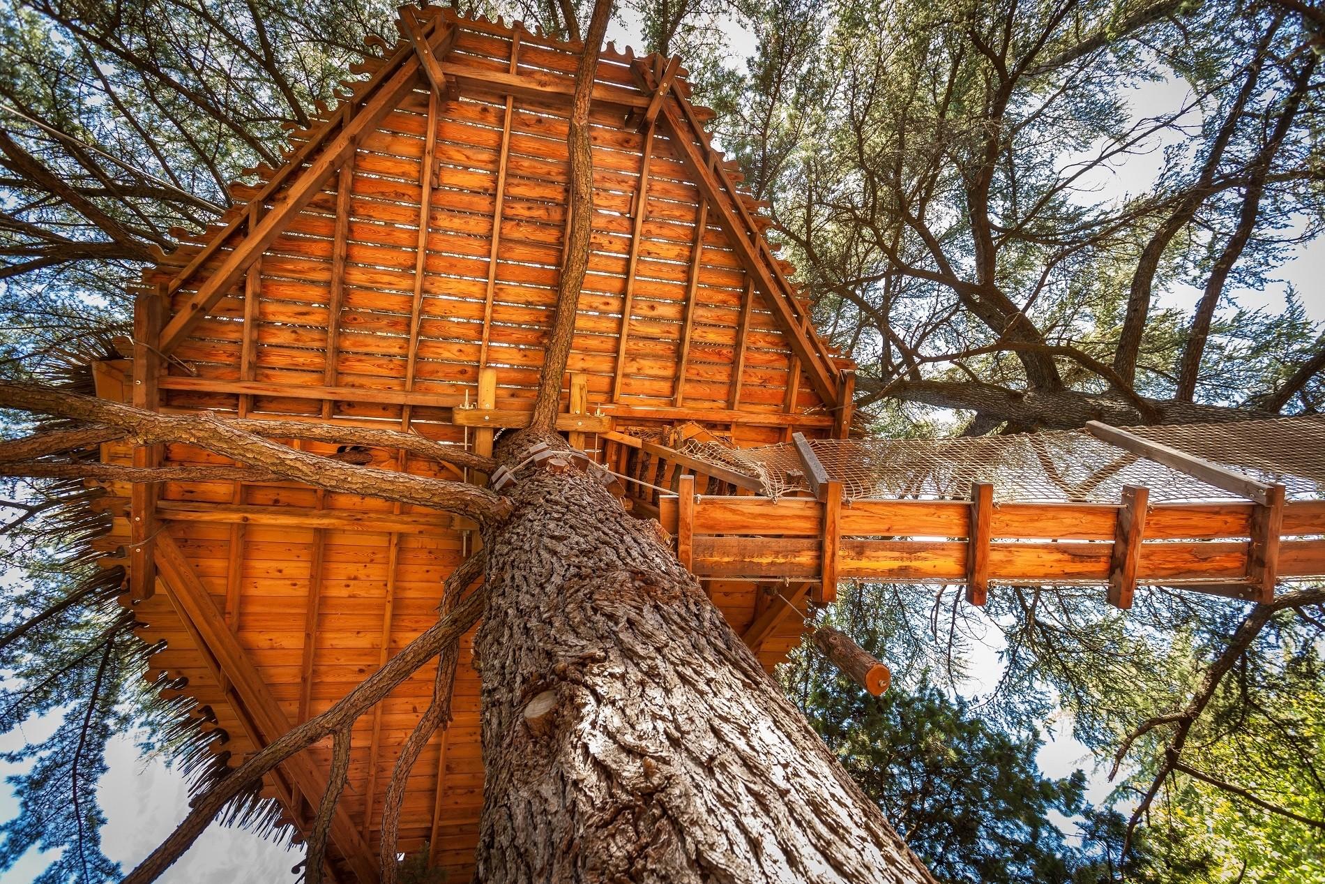 Photo 6 extérieur - Cabanes dans les arbres - Grand Duc -hébergement insolite à Montpellier - Oenotourisme - Domaine saint Jean de l'Arbousier, Castries, Hérault